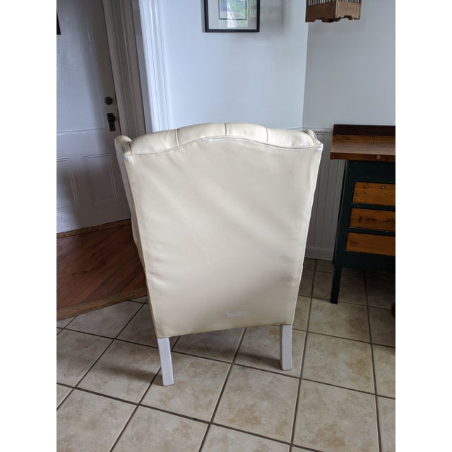 Mid-Century Chesterfield Tufted White Leather Wingback Chair For Sale - Image 4 of 9
