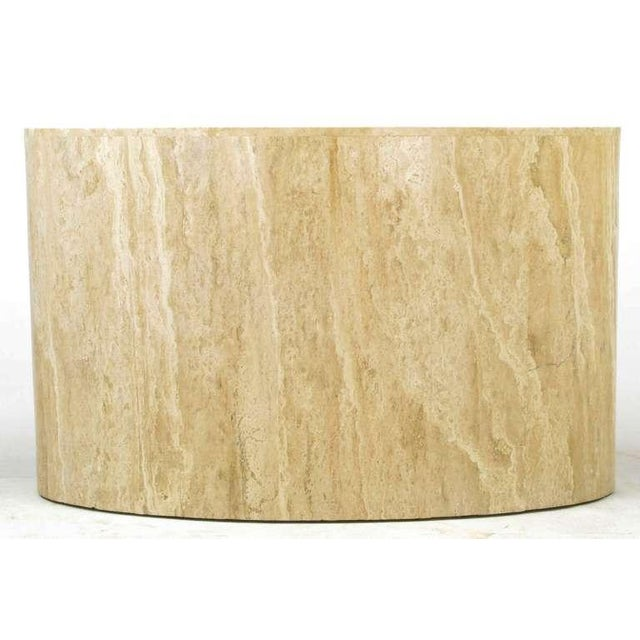 1970s Italian Elliptical Travertine Console Table For Sale - Image 5 of 7