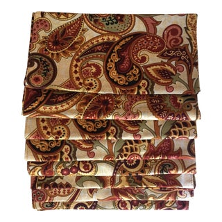 Paisley and Stripe Reversible Dinner Napkins - Set of 8 For Sale