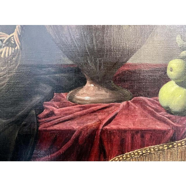 """Frank Arcuri, Still Life Oil on Canvas. Framed. """"Small Feast With Figs"""" 1999 For Sale - Image 11 of 13"""