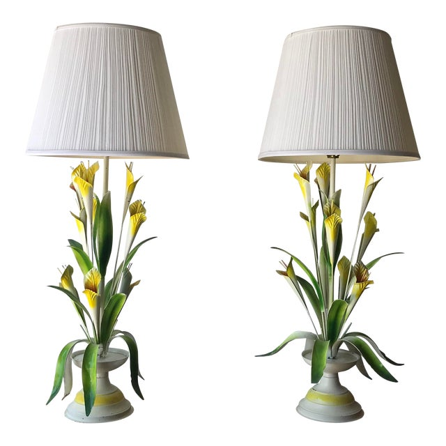 1970 Italian Tole Table Lamps - a Pair For Sale
