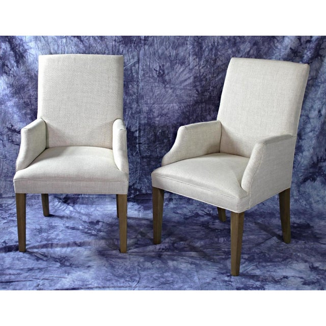 Modern Upholstered Armchairs - A Pair For Sale - Image 9 of 11