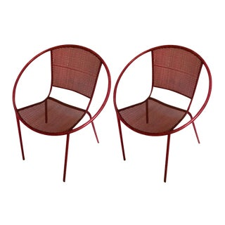 Mathieu Mategot Style Charming Pair of Outdoor Chairs in Vintage Condition For Sale