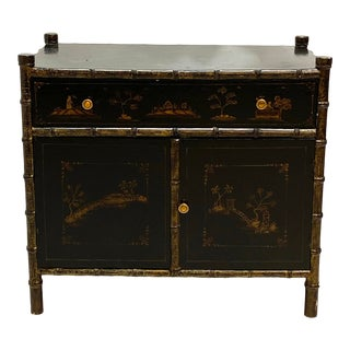 Chinoiserie Faux Bamboo Nightstand For Sale