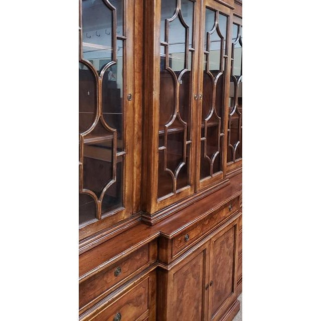 English Traditional 20th Century English Traditional Glazed Walnut Breakfront Cabinet For Sale - Image 3 of 13
