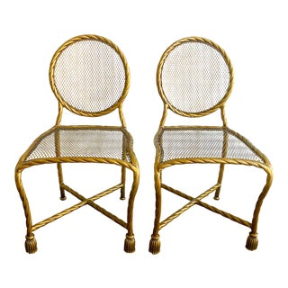 Pair Napoleon III Style Gilt Rope & Tassel Metal Side Chairs