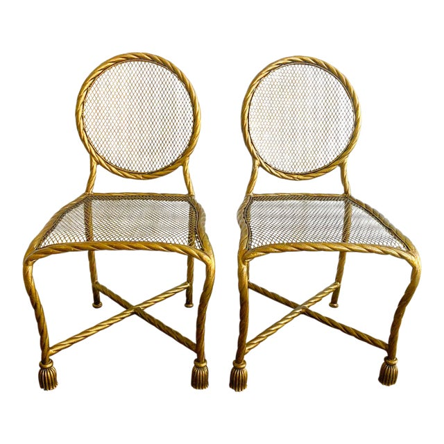 Pair Napoleon III Style Gilt Rope & Tassel Metal Side Chairs For Sale