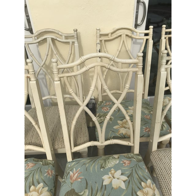 Vintage Thomasville Faux Bamboo Chinoiserie Hollywood Regency Chairs - Set of 10 For Sale - Image 6 of 11