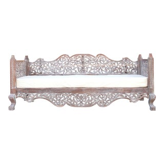 Whitewashed Raj Anglo Indian Carved Daybed For Sale