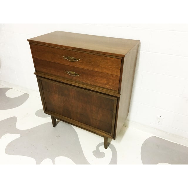 Mid-Century Modern Dresser Tallboy in Walnut - Image 5 of 6