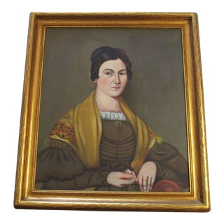 Antique Early American 19th Century Portrait Painting Estate Female Woman Model For Sale