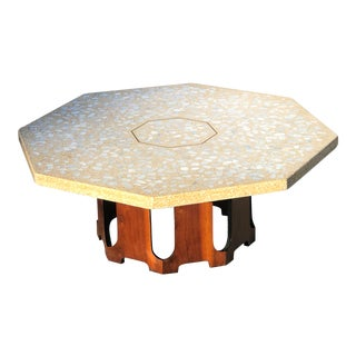 1970s Mid Century Modern Harvey Probber Terrazzo & Walnut Octagonal Coffee Table For Sale