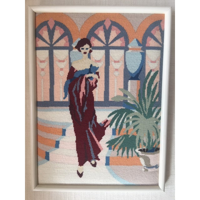 Art Deco Lady Framed Needlepoint Textile Art For Sale In New York - Image 6 of 6