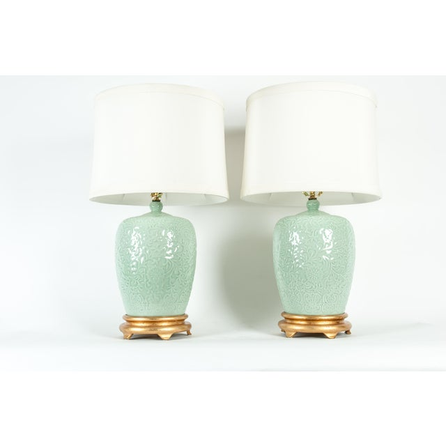 Mid Century Porcelain Lamp / Gilded Wooden Base - a Pair For Sale - Image 4 of 13