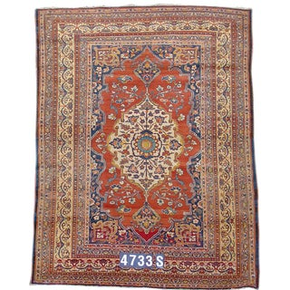 Brown & Red Tabriz Rug - 4′5″ × 6′1″