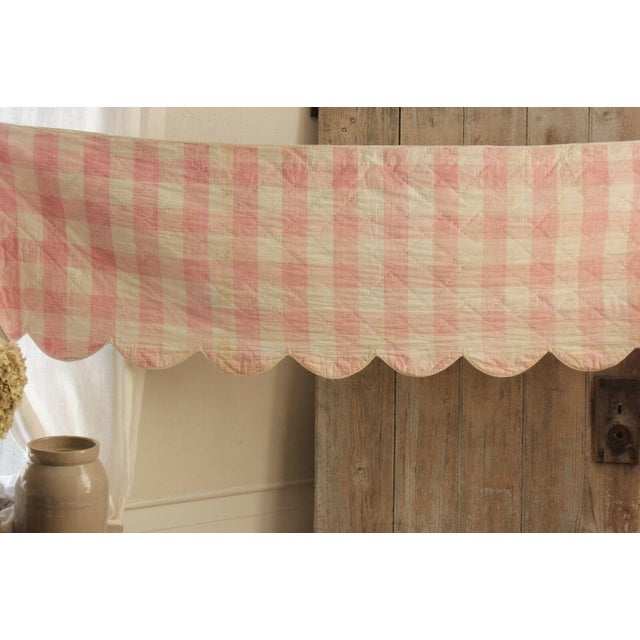 "Antique Early 18th C. French Vichy Check Ruffle Bed Quilted Valance - 17' x 20"" For Sale - Image 6 of 8"