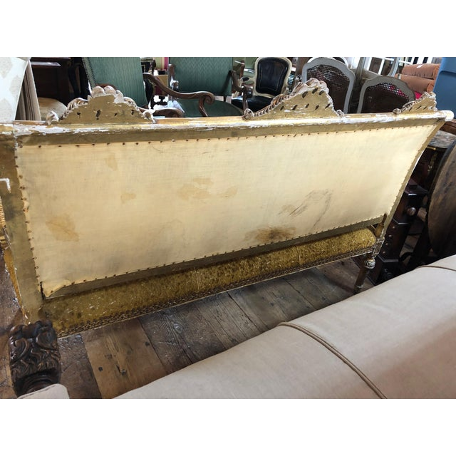 Meant for a Queen Giltwood and Cut Velvet Large French Sofa Settee For Sale - Image 10 of 12