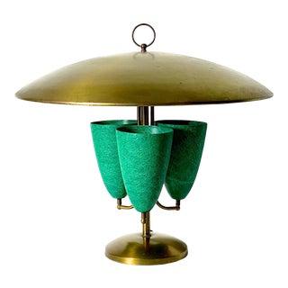 1950s Modernist Brass Canopy Fiberglass Cone Table Lamp For Sale