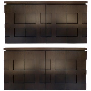 Raul Carrasco Ebonized Oak, Marble Top Block Front Cabinets, Pair For Sale