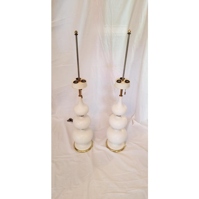 1960s Mid-Century Modern Gerald Thurston Ceramic Table Lamps - a Pair For Sale - Image 11 of 11