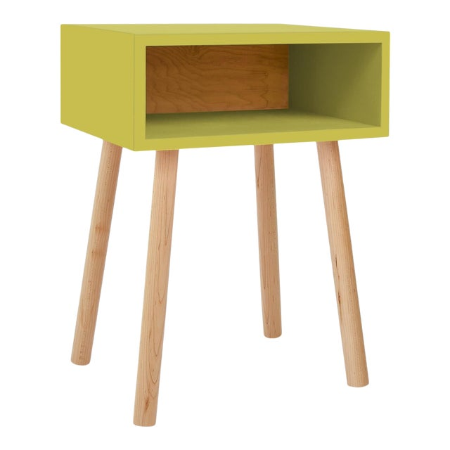 Nico & Yeye Minimo Modern Kids Nightstand in Hardwood and Green For Sale