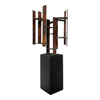 Mid-Century Modern Abstract Brutalist Welded Steel Sculpture by John Livermore For Sale