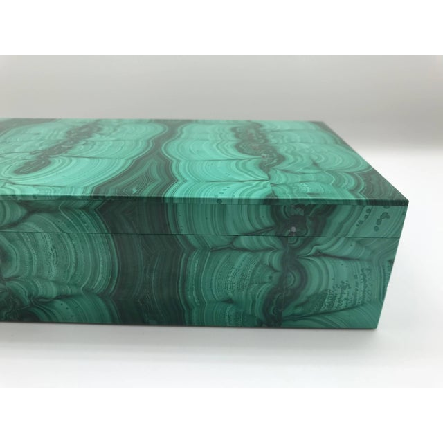Very Large Malachite Box with Hinged Lid For Sale In New York - Image 6 of 10