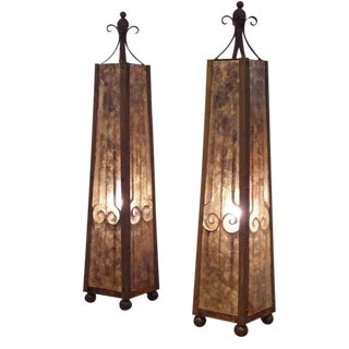 Pair of Lit Obelisks in Mica and Wrought Iron, Italy circa 1930's For Sale