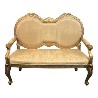 Italian Style Gilt + Upholstery Settee For Sale