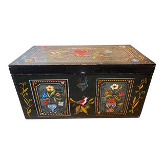 Vintage German Green Hand-Painted Edelweiss Trunk With Flower, Heart, Birds and Fruit For Sale