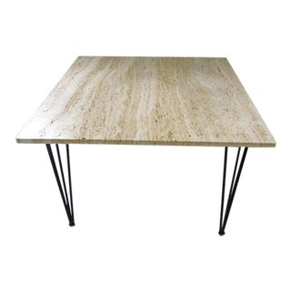 1970s Mid Century Modern Travertine Marble Accent Table For Sale
