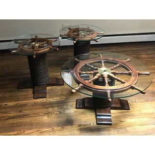 1980s Nautical Wood Ship Wheel Coffee Table Set - 3 Pieces Preview