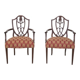 Vintage Federal Style Carved Back Occasional Armchairs - A Pair For Sale