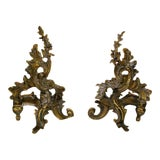 Image of 19th Century Art Nouveau Bronze Fireplace Andirons - a Pair For Sale