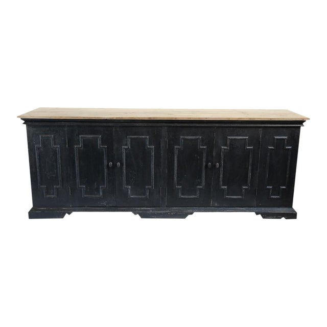 Salvaged Black & Tan Sideboard For Sale