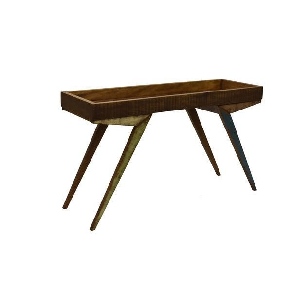 2010s Reclaimed Wood Mirrored Tray Table For Sale - Image 5 of 9