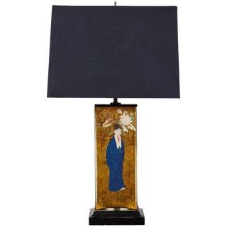 Vintage Églomisé Table Lamp For Sale