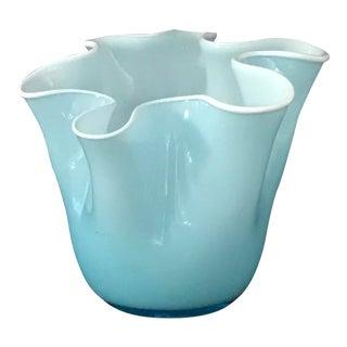 Late 20th Century Vintage Fazzoletti Opalino Tiffany Blue Handkerchief Vase For Sale