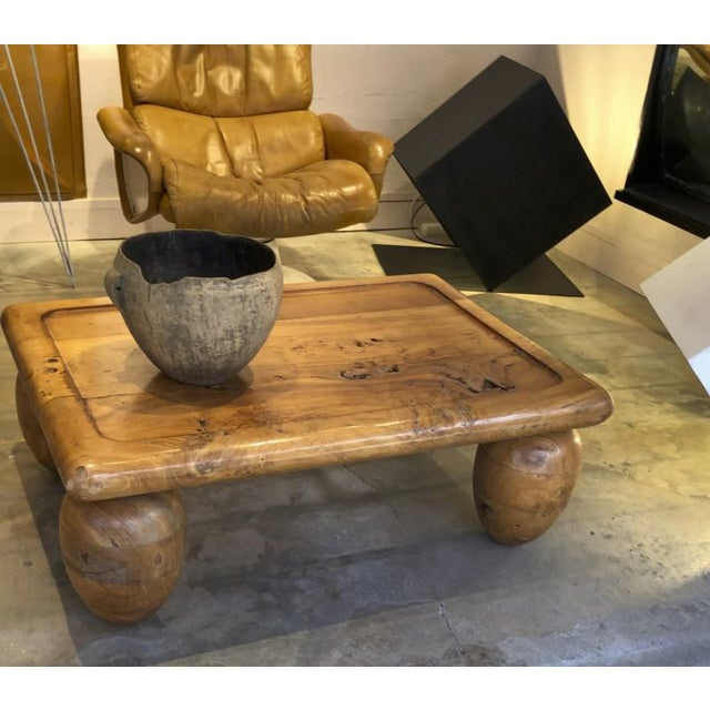 Brutalist Coffee Table With Awesome Olive Shaped Leg For Sale - Image 4 of 7