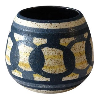1960s Lapid Israel Pottery Stout Blue Yellow Vase For Sale