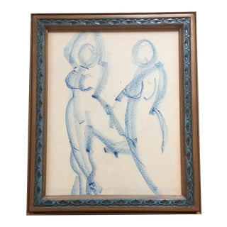 Original Vintage Modernist Female Nude Drawing For Sale