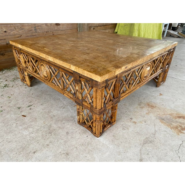 Chinese Chippendale Fretwork Rattan Coffee Table For Sale - Image 6 of 13