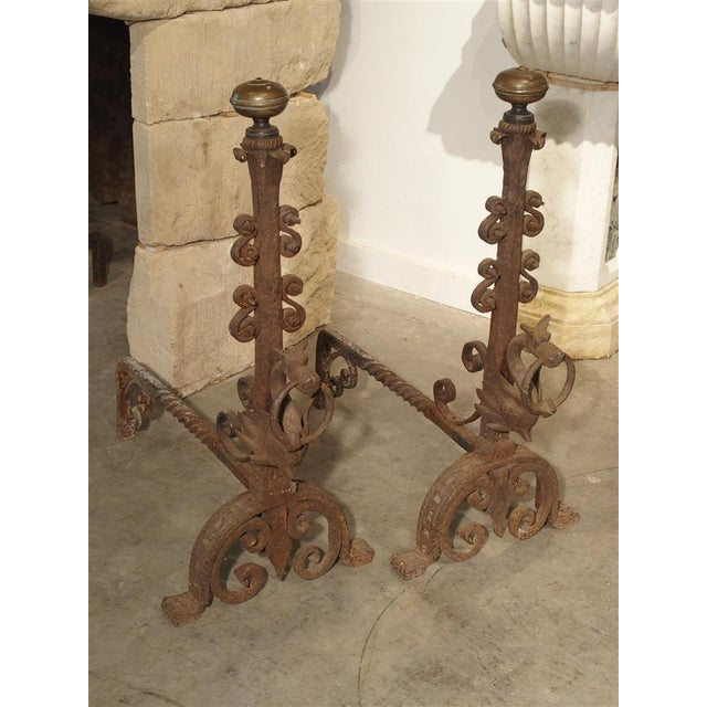 Pair of Tall Antique Forged Andirons from Antwerp Belgium, Circa 1870 For Sale - Image 9 of 9