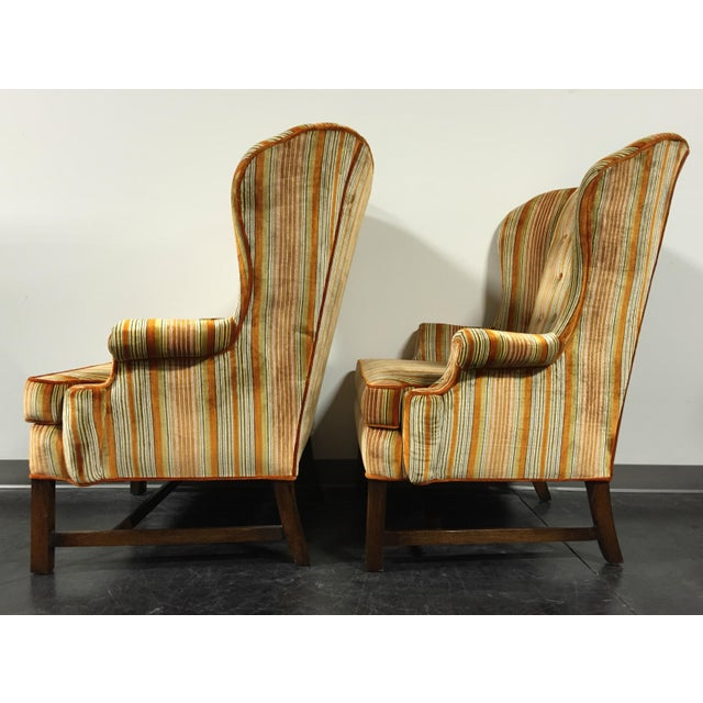 Vintage Mid-Century Tufted Wing Back Chairs - Pair - Image 6 of 11