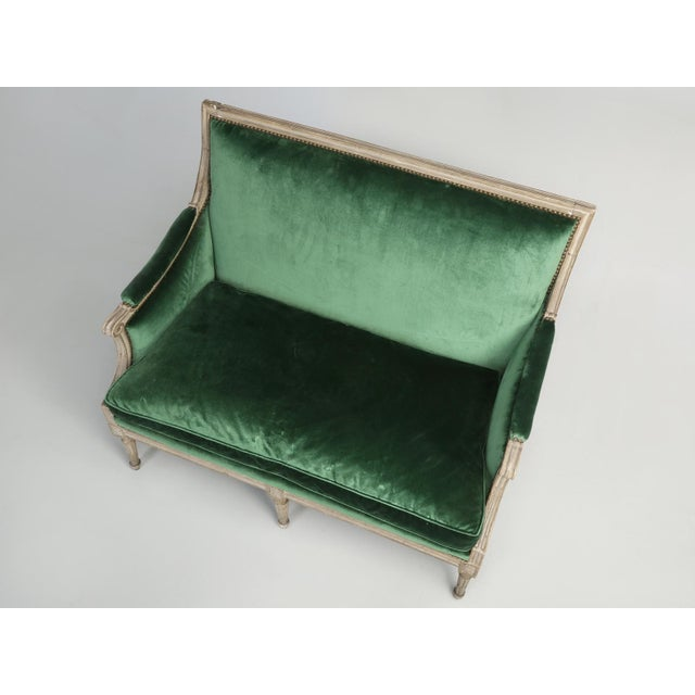 Original Paint French Louis XVI Style Settee For Sale - Image 9 of 11