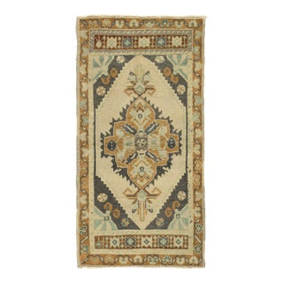 "Vintage Turkish Oatmeal Yastik Hand Knotted Wool Rug - 1'8"" X 3'4"" For Sale"