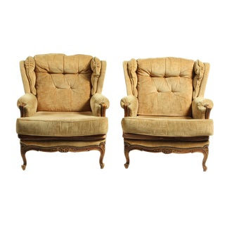 Pair of French Mid-Century Louis XV Style Brown Velvet Bergeres For Sale