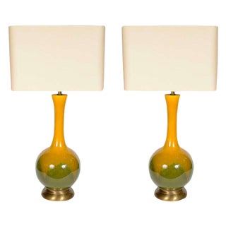 Pair of Mid-Century Modern Ceramic Pottery Lamps For Sale