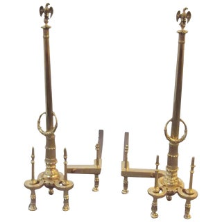 Louis XV Style Brass Tall Andirons - a Pair For Sale