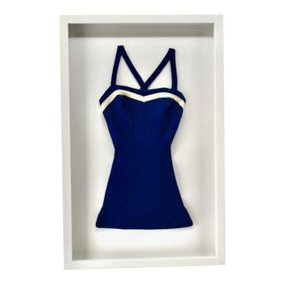Vintage Women's Blue Swim Suit Shadow Box Frame For Sale
